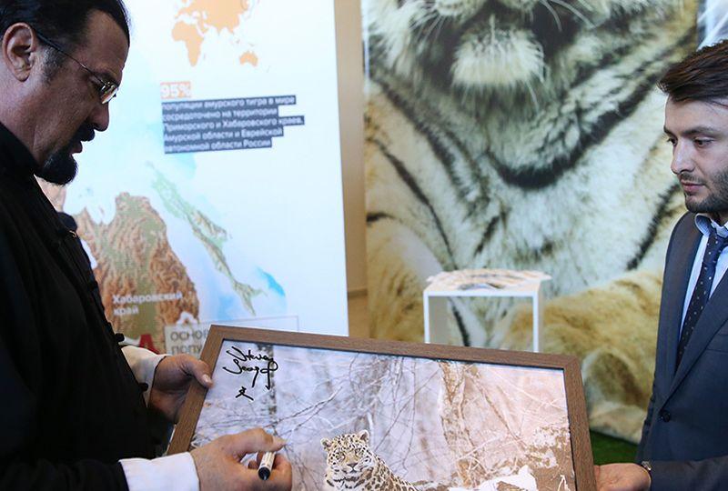 Создание выставок и экспозиций на ВЭФ по сохранению животных. Зоозащитники Памела Андерсон и Стивен Сигал.